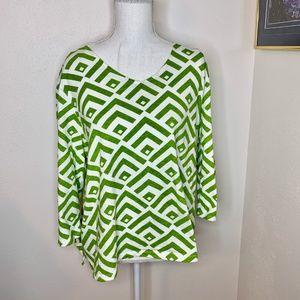 Chico's 3/4 Sleeve Green & White 100% Cotton
